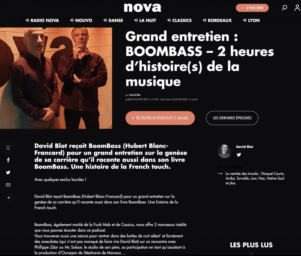 BoomBass dans Radio Nova